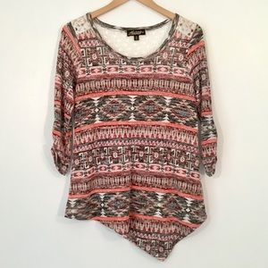 Absolutely Famous - Aztec Print Asymmetrical Top